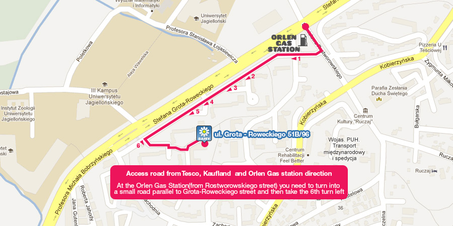 View the access road from Tesco, Kaufland  and Orlen Gas station direction