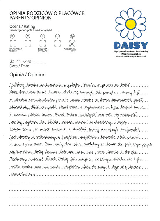 Parents' opinions | Daisy International Preschool in Cracow